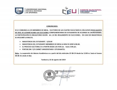 Comunicado para Personeros y Miembros de Mesa cuya participación es obligatoria con multa de acuerdo al Reglamento.